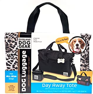 Dog Travel Bag - Day Away Tote for All Size Dogs - Includes Bag, Lined Food Carrier, and Luggage Tag (Animal Print)