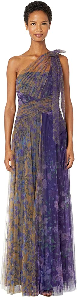 One Shoulder Pleated Color Blocked Printed Tulle Gown