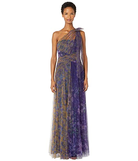 Marchesa Notte One Shoulder Pleated Color Blocked Printed Tulle Gown