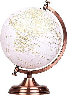 "Exerz World Globe (Dia 8""/20 cm) - Educational/Geographic/Modern Desktop Decoration - Metallic Golden World Globe Diameter..."