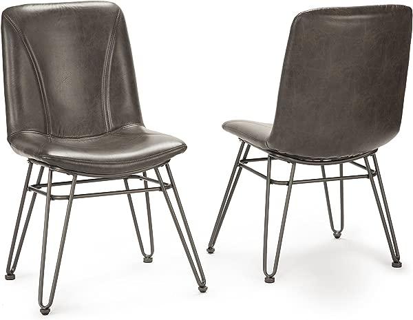 Steve Silver Set Of 2 Derek Side Chair In Gray Upholstery Finish DK450S