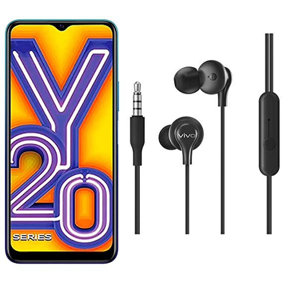 Vivo Y20A (Nebula Blue, 3GB, 64GB) with No Cost EMI/Additional Exchange Offers + vivo Color Wired Earphones with Mic and 3.5mm Jack (Black)