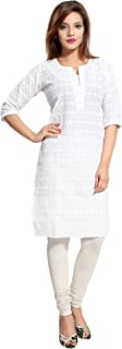 Chikankari Kurtis for Women Cotton Chikan Kari Kurta Kurti Indian Dress for Girls Ladies - White