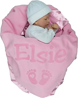 Personalized Newborn Gifts for Baby Girls, Boys, OR Parents - (36 x 36 inch) Satin Trim Custom Blanket with Name Plus Hearts and Feet Design - Add Birth Date, Weight (Pink, Blue)