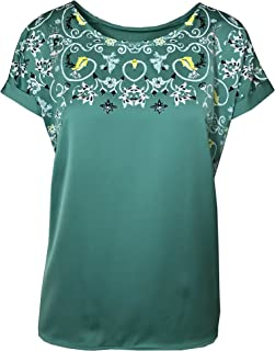 35b5545772 Marks and Spencer Marks & Spencer Satin Front T-Shirt TOP Green Floral  Pattern 10