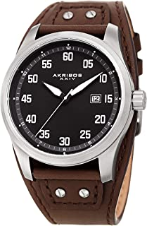 Akribos Classic Men's Cuff Strap Watch - Strong Classic Casing with Comfortable Full Coverage Genuine Leather Strap - AK1024