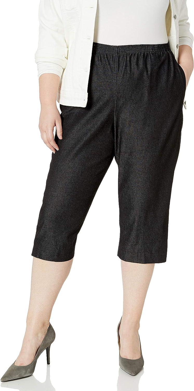 Alfred Dunner womens All Around Elastic Waist Denim Plus Capris Pants - Elastic Waist Jeans