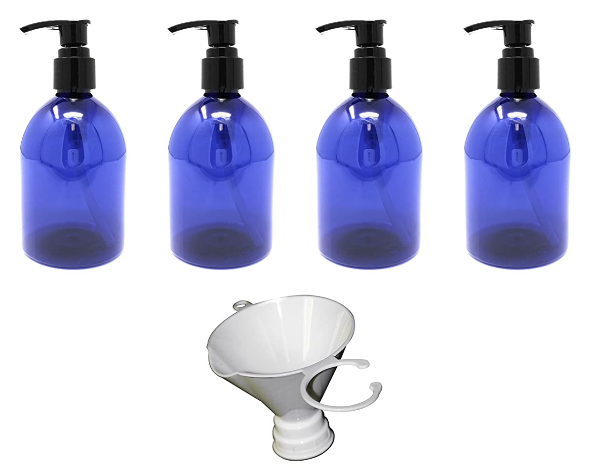 Earth's Essentials Cobalt Blue 10 Ounce Refillable Designer Pump Bottles. (4 Pack with Funnel) Shatterproof PET Plastic. Excellent Liquid Hand Soap, Lotion, Shampoo and Massage Oil Dispensers.