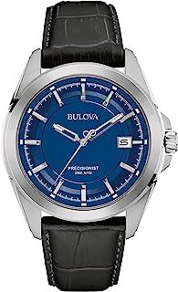 Bulova Men's Quartz Stainless Steel and Black Leather Dress Watch (Model: 96B257)