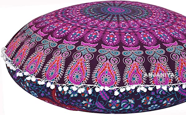 Plush Decor Large Floor Cushion Cover Meditation Pillow Kids Seating Ottoman Throw Decorative Zipped Bohemian Pouf