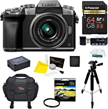 Panasonic DMC-G7KS Digital Single Lens Mirrorless Camera 14-42 mm Lens Kit, 4K + Starter Bundle + 64 GB High Speed 10 UHS3 + Tripod + Polaroid 46mm UV Filter + Battery + Bag