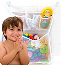Bathtub Toy Organizer, Extra Durable, Washable and Quick Dry Bathroom Toy Storage Mesh Bag for Kids, Tub Toy Net Holder, Bath Toy Organizer with 2 Suction Cup Hooks, Cute Baby Shower Gift