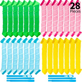28 Pieces Hair Curlers Spiral Curls No Heat Wave Hair Curlers Styling Kit Spiral Hair Curlers with 2 Pieces Styling Hooks ...