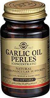 Solgar Garlic Oil Perles, 100 Softgels - Natural Cardiovascular Support - High-Quality Garlic Oil Concentrate, Reduced Odo...