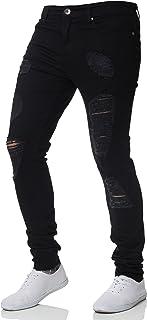 New Mens ENZO Super Stretch Skinny Jeans Ripped Distressed Designer Black 40 W X 32 R