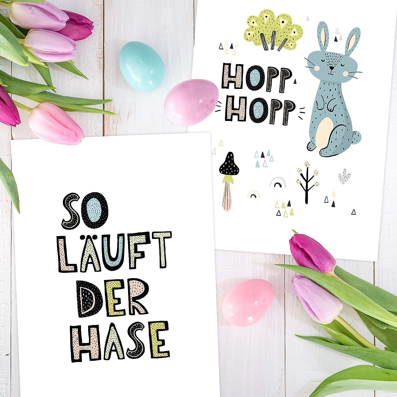 Dekoration Fr/ühling Wandbild Set hochwertige Kunstdrucke Wandbilder f/ür Wohnzimmer und K/üche 4 Premium Poster zu Ostern DIN A4