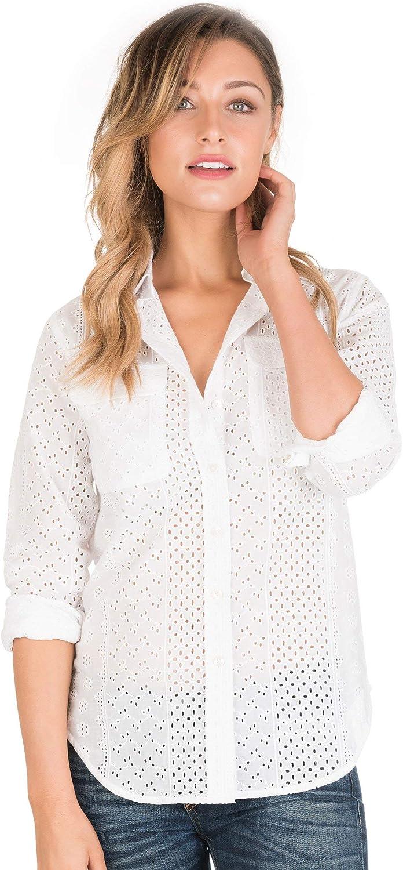 CAMIXA Womens White Shirt 100% Cotton Casual Two Pockets ButtonDown Blouse Top