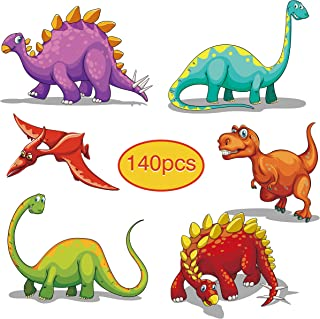 140PACK Dinosaur Temporary Tattoos for Kids, 20 Individual Designs for Baby Boy Birthday Party Favor Supplies School Class Exchange Present with Colored Box 1.57inch Size