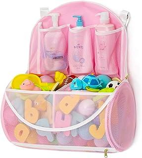 Mesh Bath Toy Organizer with YKK Zipper, Bathtub Toy Laundry Bag, Multiple Ways to Hang, Ultra Large Capacity & Large Open...