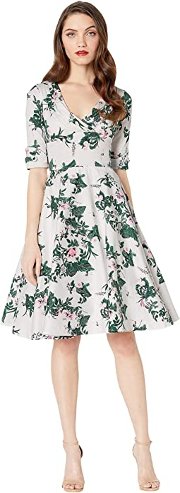 1950s Briar Rose Print Delores Swing Dress with Sleeves