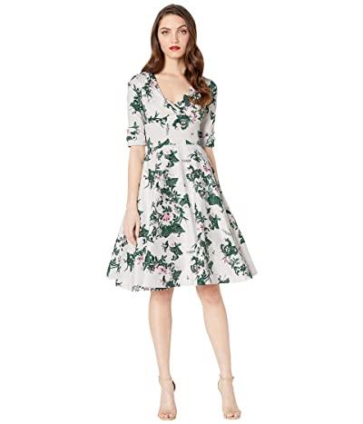 Unique Vintage 1950s Briar Rose Print Delores Swing Dress with Sleeves (White/Pink/Green Floral Print) Women