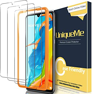 [3 Pack] UniqueMe Screen Protector Compatible for Huawei P30 Lite Tempered Glass, [Easy Installation Frame] HD Clear [Ant...