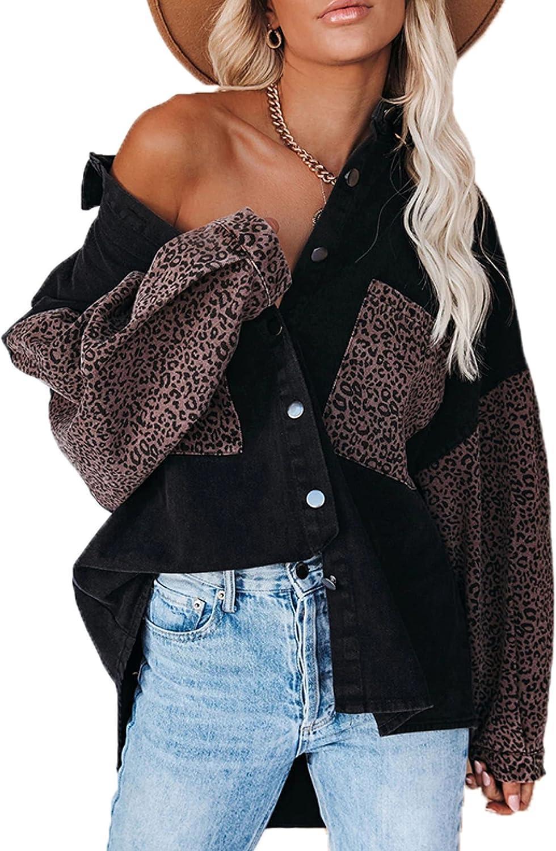 Yeokou Womens Oversized Leopard Contrast Denim Jacket Shirts Retro Distressed Ripped Jean Outwear Jackets