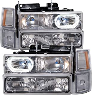 HEADLIGHTSDEPOT Chrome Halogen Euro Halo with Xenon 8Pc Set Headlights Compatible with Chevrolet C1500 C2500 C3500 K1500 Suburban 1994-2001 Includes Left Driver and Right Passenger Side Headlamps
