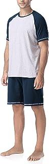 Pijama de Dos Piezas para Hombre, Ropa de Dormir Pijama Corto o Largo de Algodón, Camisa de Manga Larga y Pantalones Largos o Camisa de Manga Corta y Pantalones Cortos, 1 Set