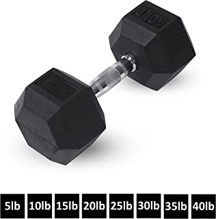 Rubber Hex Dumbbells by Day 1 Fitness – 8 Sizes Available, 5-40 Pounds, Sold in Singles - Shaped Heads to Prevent Rolling and Injury - Ergonomic Hand Weights for Exercise, Therapy, Building Muscle