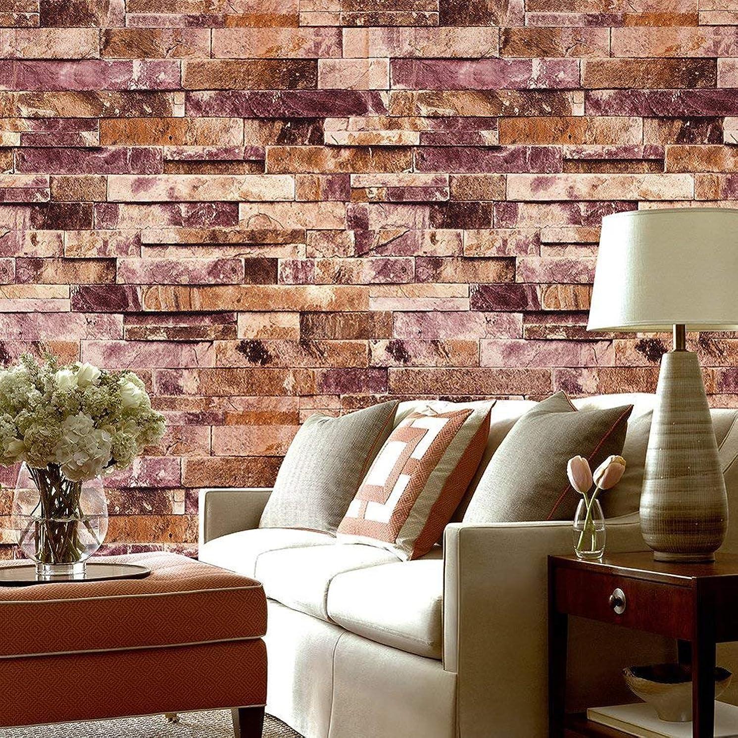 QIHANG Three-Dimensional Wallpaper Brick Wall Wallpaper 3D Textured Bricks Red Color