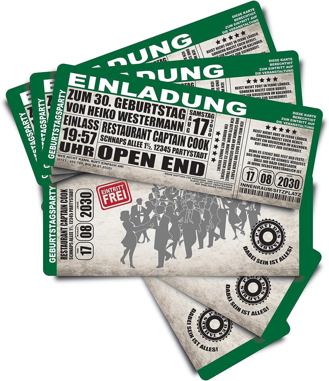 100 Einladungskarten als Konzertkarten - grün - Geburtstagskarten Geburtstagseinladungen Ticket Eintrittskarte B01J4ARI4C | Lebendige Form