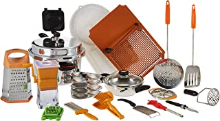 Anjali Aluminium Complete Kitchen Set-18pcs with Nutricon Classy Cooker Outer Lid (Silver) 7.5liter