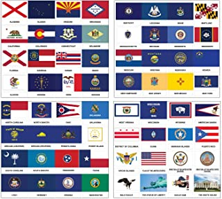 Creanoso US States and Territories Flags and American Symbols Stickers (2-Sets) - 8 Sheets - Fun Learning Decorating Stick...