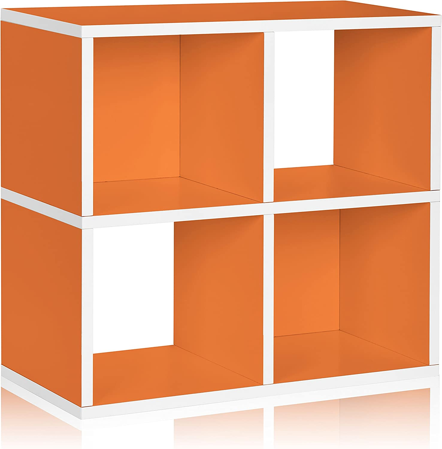 Way Basics WB-4CUBE-OE Eco 4 Cubby Bookcase, Stackable Organizer and Storage Shelf, orange