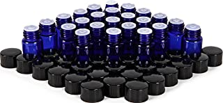 24, Cobalt Blue, 2 ml (5/8 Dram) Glass Bottles, with Orifice Reducers and Black Caps