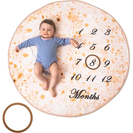 Bliss N Baby Milestone Blanket Baby Boy & Girl - Perfect Baby Age Blanket Gift Ultra Soft Double-Sided Funny Baby Growth Chart Blanket Fluffy Texture, Burrito Tortilla Baby Swaddle Blanket Boy Blanket