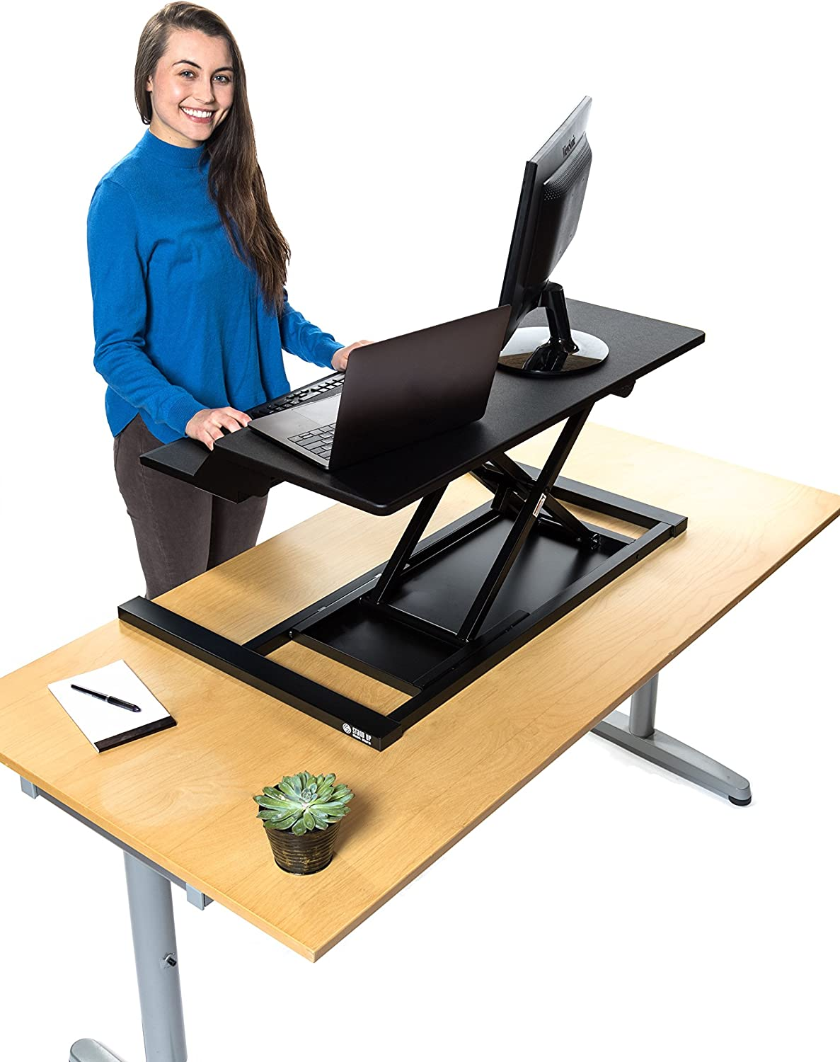 Stand Up Desk Store AirRise Electric Power Pro Two-Tier Standing Desk Congreener Sit Stand Desk - Turn Any Desk Into a Stand Up Desk Adjustable Desk (Electric Adjustment   36  Wide   Black)