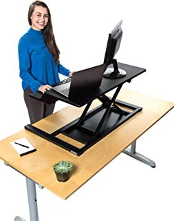 Stand Up Desk Store AirRise Electric Power Pro Two-Tier Standing Desk Converter/Sit Stand Desk - Turn Any Desk Into a Stand Up Desk/Adjustable Desk (Electric Adjustment | 36
