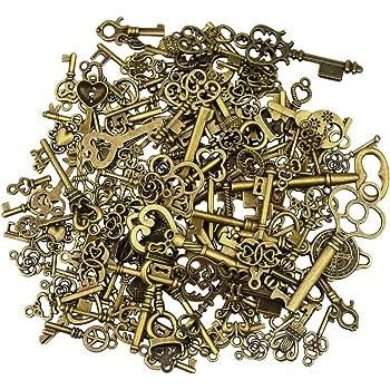 100 Antique Bronze Keys 25 mm Heart Key Charm Anniversary Wedding Finding Favour