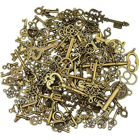 125 pièces antique bronze vintage squelette clé charmes bricolage collier pendentif pour la faits à la main de mariage faveur et fête d'anniversaire