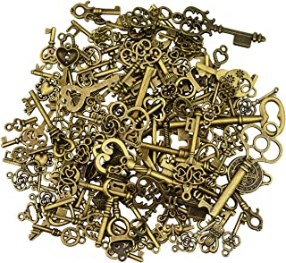 125Pcs Antique Bronze Vintage Skeleton Key Charms DIY Necklace Pendant for Handmade Jewelry Making Wedding Party Favor & Birthday Party
