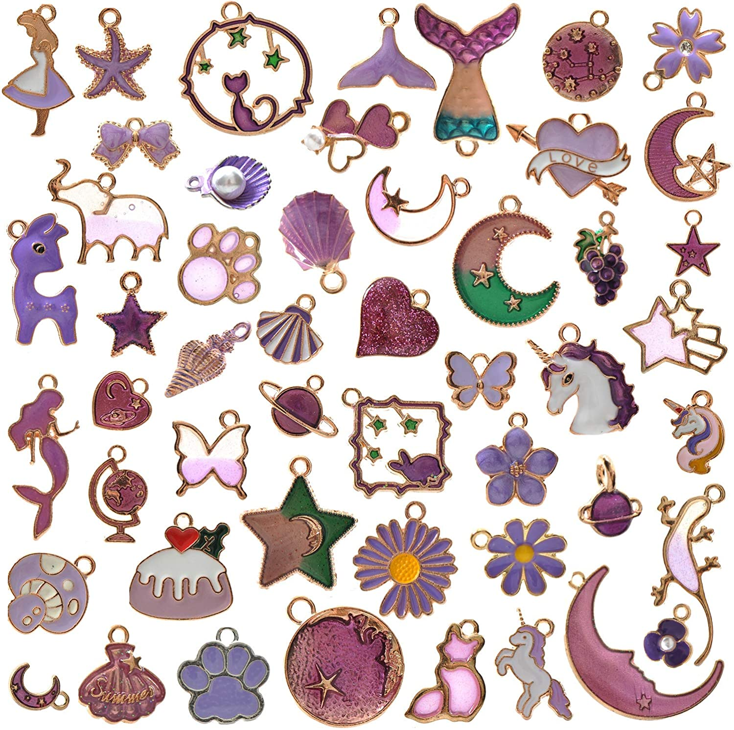 YUEAON 50pcs Enamel Charms for Max 74% OFF Supplies Jewelry B Earring Max 61% OFF Making