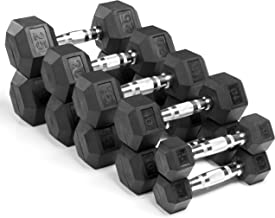 XMark Fitness, Premium Quality, Rubber Coated Hex Dumbbells are Built Tough, Built to Last - Sold in Pairs