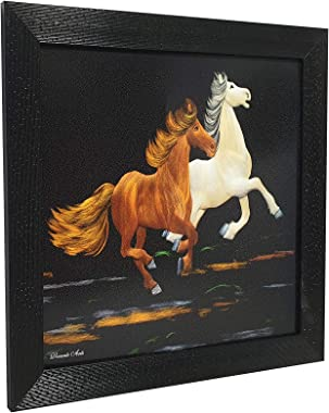Gallery99 Two Running Horses Textured Paper (Scratch/Dust) Proof Painting (11 inch x 11 inch)