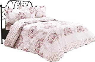 Chiara Rose 3 Piece Reversible Quilt Set Bedspread Coverlet Lightweight Comforter Full Queen OTTM RS