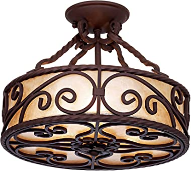 """Natural Mica Collection Rustic Ceiling Light Semi Flush Mount Fixture Deep Walnut Scroll 15"""" Wide Drum Shade for Bedroom Kitc"""