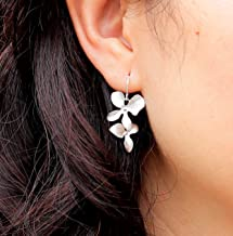 Dainty Brushed Orchids Flower Sterling Silver or Gold Filled Earrings - Birthday, Wedding Jewelry, Anniversary, Bridesmaid Gifts
