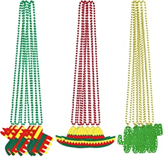 18 Pieces Fiesta Beaded Necklaces Cactus Sombrero Hat Shaped Necklaces for Mexican Party Decorations Birthday Fiesta Party Supplies, Red, Gold, Green