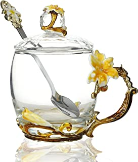 Flower Teacup Transparent Glass Teacup, (With Spoon + Lid) , Fancy Tea Cups , Flower Tea Cup,Tea Cup Gift, Gifts for Wome...